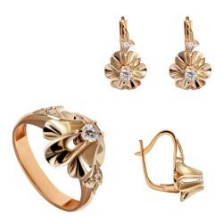 Золотой комплект, кольцо и серьги арт. KT-30