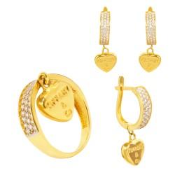 Золотой комплект, кольцо и серьги с цирконием, арт. 090421.03.13