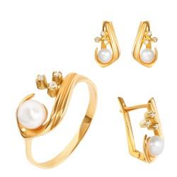 Золотой комплект, кольцо и серьги с жемчугом и цирконием, арт. 100421.03.03