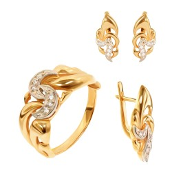 Золотой комплект, кольцо и серьги с цирконием, арт. 100421.03.07