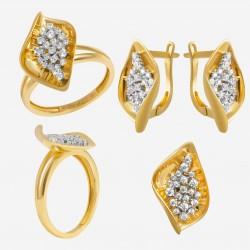 Золотой комплект, кольцо и серьги 110821.05.07