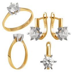 Золотой комплект, кольцо и серьги 110821.05.09