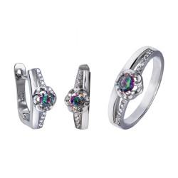 Серебряный комплект, кольцо и серьги: размер 16.5, вес 5.94 гр.