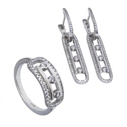 Серебряный комплект, кольцо и серьги: размер 16.5, вес 10.36 гр.