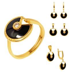 Золотой комплект, кольцо, серьги и кулон, арт. 150621.04.02