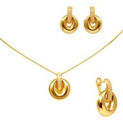 Золотой комплект, серьги и кулон, арт. 150621.04.04