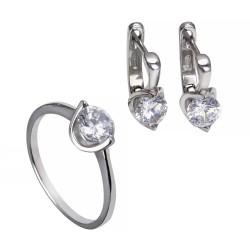 Серебряный комплект, кольцо и серьги: размер 18, вес 5.77 гр.