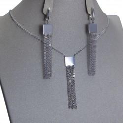 Серебряный комплект, цепочка и серьги: размер: вес 8.95 гр.