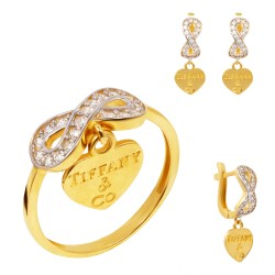 Золотой комплект, кольцо и серьги, арт. 160621.04.16