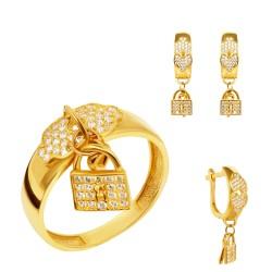 Золотой комплект, кольцо и серьги, арт. 160621.04.17