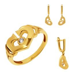 Золотой комплект, кольцо и серьги, арт. 160621.04.18