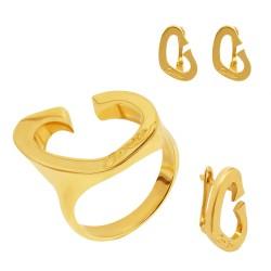 Золотой комплект, кольцо и серьги, арт. 160621.04.19