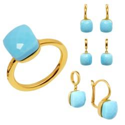 Золотой комплект, кольцо и серьги с бирюзой, арт. 160621.04.20