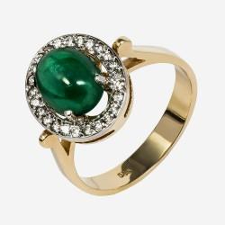 Золотое кольцо с бриллиантами и изумрудом, арт. 170421.04.15
