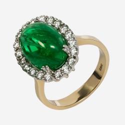 Золотое кольцо с бриллиантами и изумрудом, арт. 170421.04.16