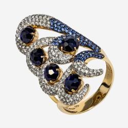 Золотое кольцо с бриллиантами и сапфирами, арт. 170421.04.22