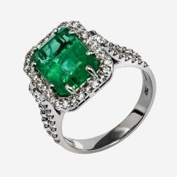 Золотое кольцо с бриллиантами и изумрудом, арт. 170421.04.25