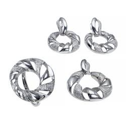 Серебряный комплект, кольцо, серьги и подвеска с цирконием Art - 171119.02.01