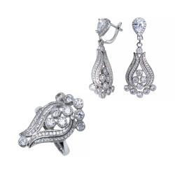 Серебряный комплект, кольцо и серьги с цирконием Art - 171119.02.05