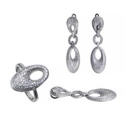 Серебряный комплект, кольцо, серьги и подвеска с цирконием Art - 171119.02.09