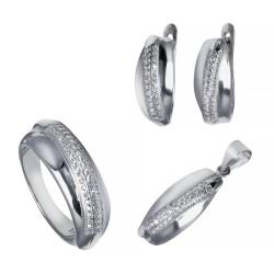 Серебряный комплект, кольцо, серьги и подвеска с цирконием Art - 171119.02.10