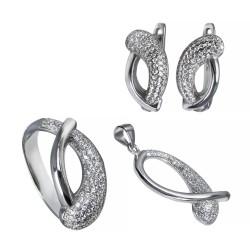 Серебряный комплект, кольцо, серьги и подвеска с цирконием Art - 171119.02.13