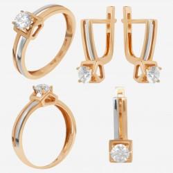 Золотой комплект, кольцо и серьги с фианитом, арт. 180621.04.01