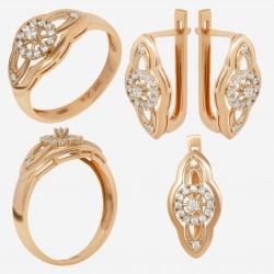 Золотой комплект, кольцо и серьги с фианитом, арт. 180621.04.03