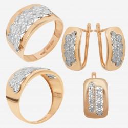 Золотой комплект, кольцо и серьги, арт. 180621.04.04
