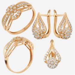 Золотой комплект, кольцо и серьги с фианитом, арт. 180621.04.05