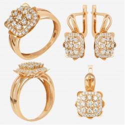 Золотой комплект, кольцо и серьги, арт. 180621.04.07