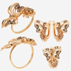 Золотой комплект, кольцо и серьги, арт. 180621.04.08