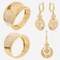 Золотой комплект, кольцо и серьги, арт. 180621.04.11
