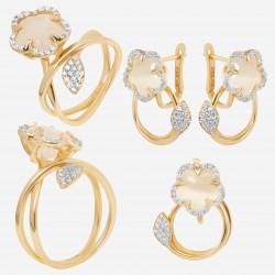 Золотой комплект, кольцо и серьги, арт. 180621.04.12