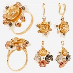 Золотой комплект, кольцо и серьги, арт. 180621.04.13