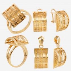 Золотой комплект, кольцо и серьги, арт. 180621.04.14