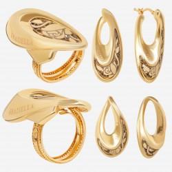 Золотой комплект, кольцо и серьги, арт. 180621.04.15