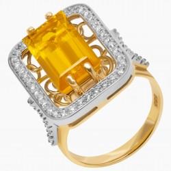 Золотое кольцо с цитрином и бриллиантом, арт. 200421.04.07