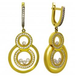 Золотые серьги с цирконием, арт. 200821.07.16