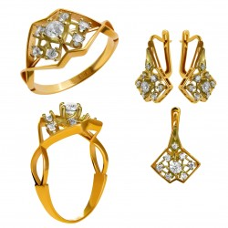 Золотой комплект, кольцо и серьги, арт. 210821.07.02