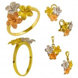 Золотой комплект, кольцо, серьги и кулон арт. 210821.07.03