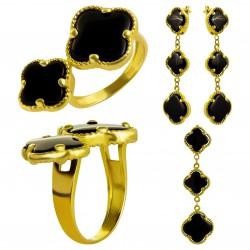Золотой комплект, кольцо и серьги, арт. 210821.07.05