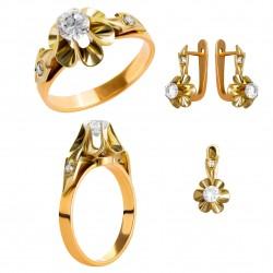 Золотой комплект, кольцо и серьги, арт. 210821.07.06
