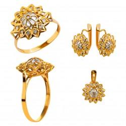 Золотой комплект, кольцо и серьги, арт. 210821.07.07