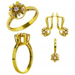 Золотой комплект, кольцо и серьги, арт. 210821.07.08