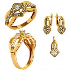 Золотой комплект, кольцо и серьги, арт. 210821.07.09