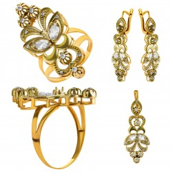 Золотой комплект, кольцо и серьги, арт. 210821.07.10
