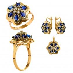 Золотой комплект, кольцо и серьги, арт. 210821.07.11