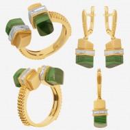 Золотая комплект с малахит и бриллиантом, арт. 220421.04.02