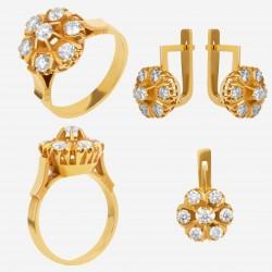 Золотой комплект с бриллиантом, арт. 230421.04.01